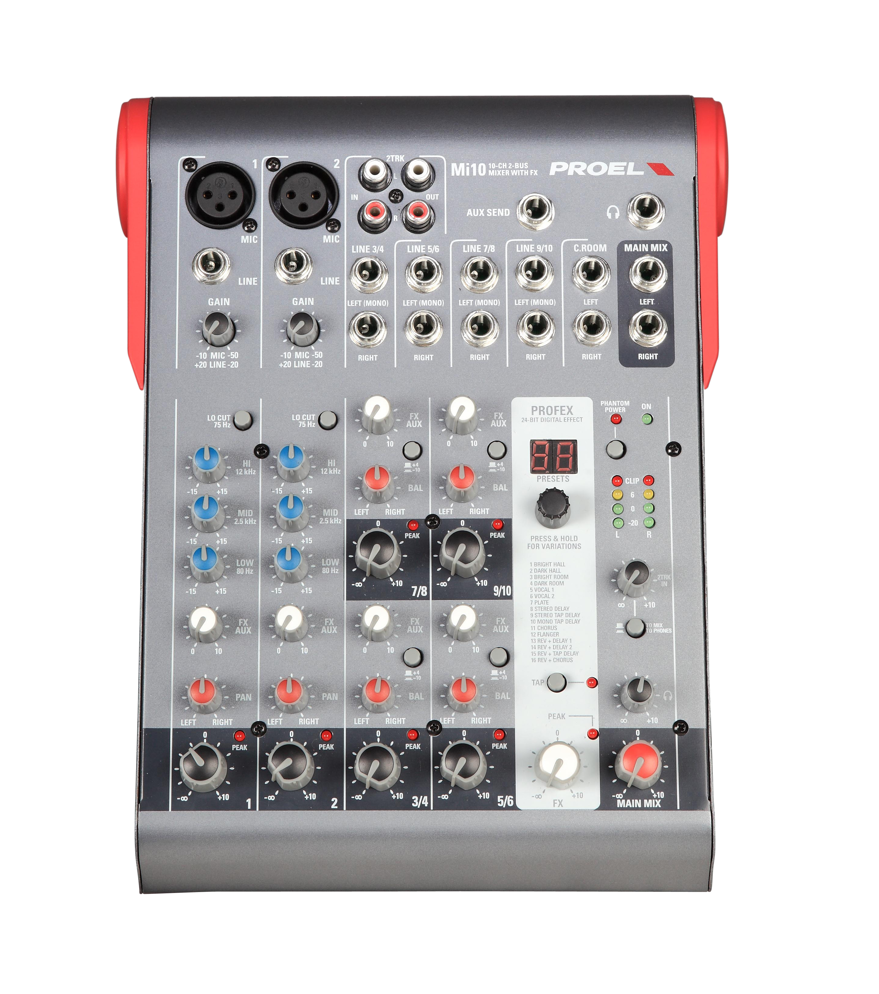 Uitlopend - Proel Mixer 2mic/Line. 4st. Line inputs. 1Aux. 24bit 256 effects, 2track out. Bal.Main mix out.